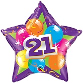 "20""  21st Birthday Sparkling  Star Mylar Balloon"