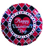 "18"" Happy Valentine&#39s Day Red & Black Diamonds Balloon"