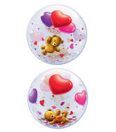 "22"" Teddy Bear&#39s Floating Hearts Plastic Bubble Balloons"