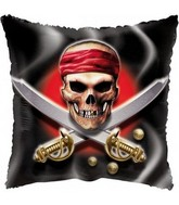 "18"" Pirate Flag Skull & Swords black Balloon"