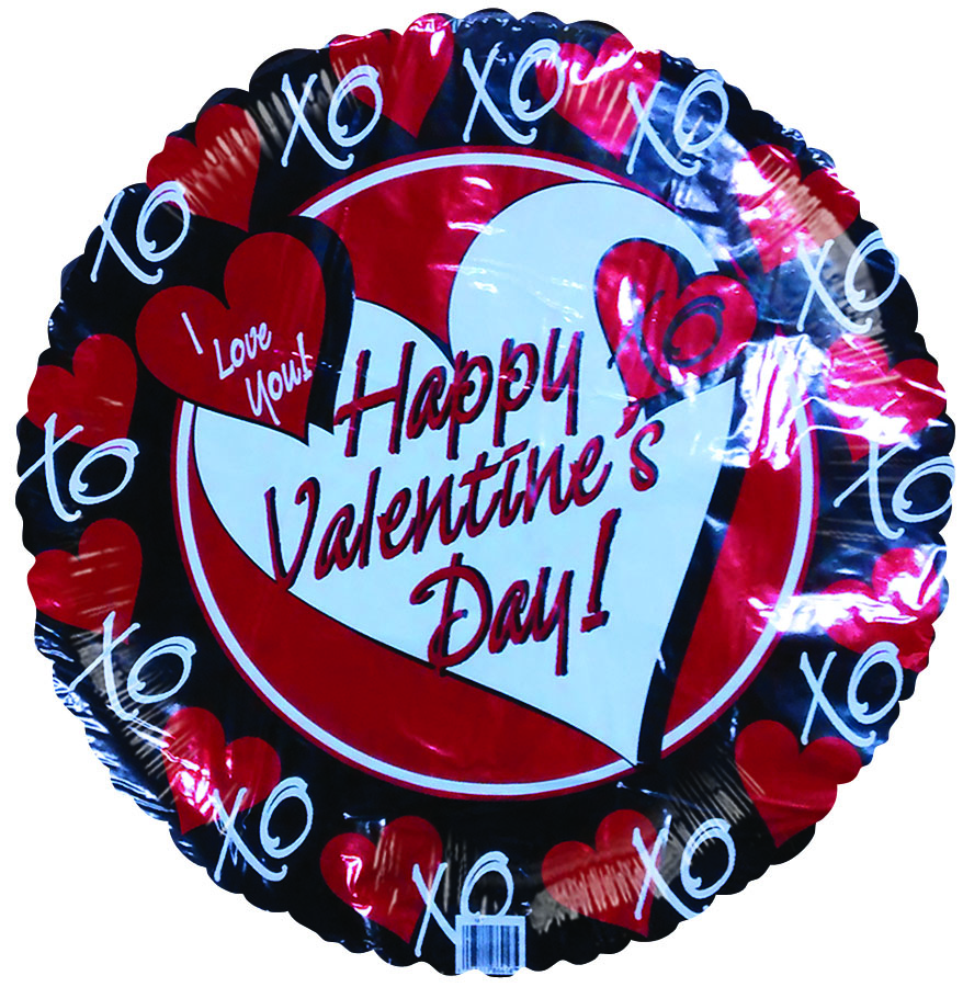 "18"" Happy Valentines Day Red Hearts Black Border"