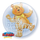 "24"" Double Bubble Baby Boy Balloons"