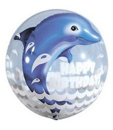 "24"" Happy Birthday Dolphin Plastic Bubble Balloon"