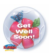 "24"" Get Well Soon Flower Plastic Bubble Balloon"