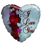 "18"" I Love You Pin Striped Heart shaped white balloon"