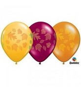 "11"" Autum Leaves Round Latex Assrt Latex Balloons"
