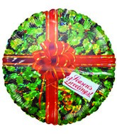 "9"" Holly-day Greetings Gift Green Airfill balloon"