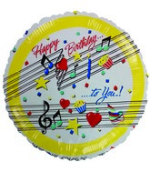 "4"" Airfill Happy Birthday Music Notes Balloon"