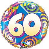 "18""  60th Birthday Stars & Swirls Balloon"