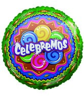 "18"" Celebremos Colorful Party Mylar Balloon"