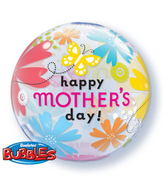 "22"" Mother's Day Butterfly Floral Bubble Balloon"