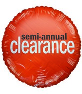"18"" Orange Semi Annual Clearance Mylar Balloon"