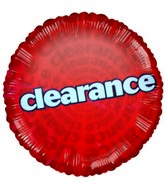 "18"" Red Clearance Sale Promotional Balloon"