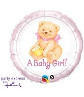 "18"" A Baby Girl Bear Balloon"
