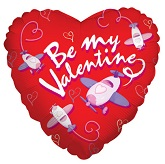 "18"" Happy Valentine&#39s Day Plane Balloons"