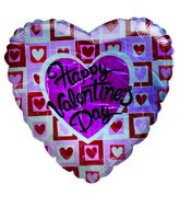 "36"" Happy Valentine&#39s Day Heart Stamps white Balloon"