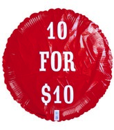"18"" 10 for $10 Red Foil Balloon"