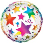 "23"" Clear See Through Rainbow Stars Balloon"