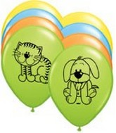 "11"" Cuddly Kitten & Puppy Latex Balloons"