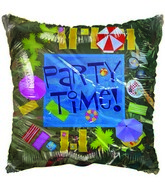"18"" Party Time Beach themed yellow balloon"