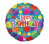"36"" Happt Birthday Dots Balloon"