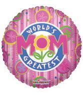 "18"" World&#39s Greatest Mom Floral Fun Balloon"