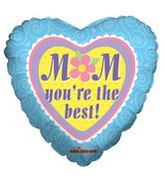 "4"" Airfill Mom You'Re The Best Swirly Blue Border"