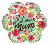 "18"" I Love You Mum Green Flower"