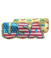 "40"" Golden USA Balloon Patterned Back"