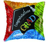 "18"" Congratulations Grad Cap spirals colorful balloon"