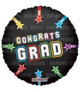 "9"" Airfill Congrats Grad On Black Balloon"