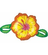 "39""  Yellow Linky Hibiscus Flower"