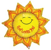 "41"" God Loves You Smiley Sun Mylar Balloon"