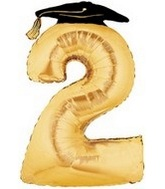 "45"" Large Number Balloon 2 Gold Graduation"
