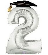 "45"" Large Number Balloon 2 Silver Graduation"