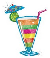 "46"" Holographic Tropical Drink Balloon"