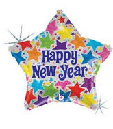 "18"" Happy New Year Colourful Stars on Star Balloon"