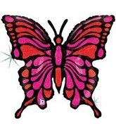 "33"" Holographic Magenta Butterfly Balloon"