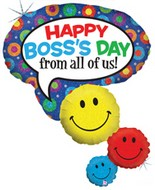 "42"" Holographic Boss Day Smiley Faces Balloon"