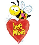 "43"" ""Bee Mine"" Bee with Heart Mylar Balloon"