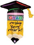 "30"" Grad Make You Mark Pencil Shape Mylar Balloon"