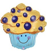 "27"" Smiley Blueberry Muffin Balloon"