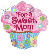 "27"" Holographic Sweet Mom Cupcake Balloon"