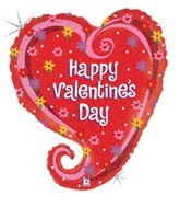 "29"" Swirly Heart Valentine Mylar Balloon"