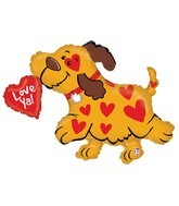 "39"" Pup Fetching ""Love Ya!"" Heart SuperShape"