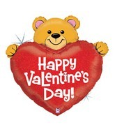 "37"" Big Heart Valentine Bear Jumbo Balloon"