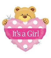 "37"" Baby Girl Big with Bear Heart Balloon"