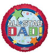 "4"" Airfill All Star Dad Red Balloon"