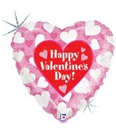 "18"" Happy Valentines Day Hearts Balloon"