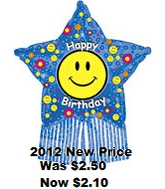 "38"" Smiley Birthday Star with Streamers (B20)"